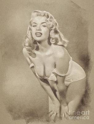 Musicians Drawings Rights Managed Images - Jayne Mansfield, Vintage Hollywood Actress and Pinup by John Springfield Royalty-Free Image by Esoterica Art Agency