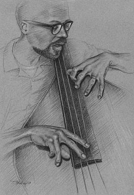 Bass Player Drawing - Jazz Bass by Tim Bailey