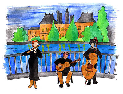 Jazz Trio On Pont Ile Saint Louis Art Print