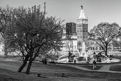 Photograph - J.c. Nichols Memorial Fountain In Spring - Black And White - Kansas City Missouri by Gregory Ballos