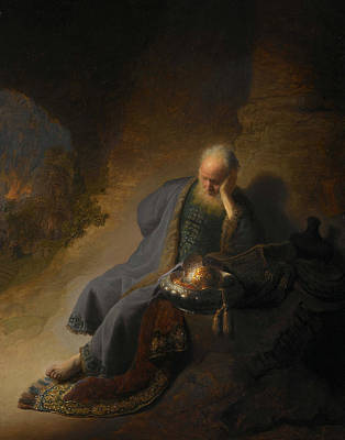 Old Dutch Painting - Jeremiah Lamenting The Destruction Of Jerusalem  by Rembrandt