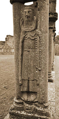 Rustic Digital Art - Jerpoint Abbey Ireland Cloister Column Monk Stone Carving County Kilkenny by Shawn O'Brien