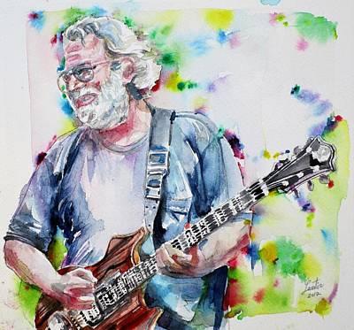 Painting - Jerry Garcia - Watercolor Portrait by Fabrizio Cassetta
