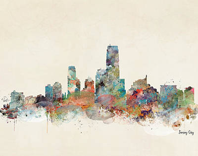 Painting - Jersey City New Jersey Skyline  by Bleu Bri