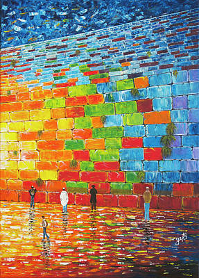 Art Print featuring the painting Jerusalem Wailing Wall Original Acrylic Palette Knife Painting by Georgeta Blanaru