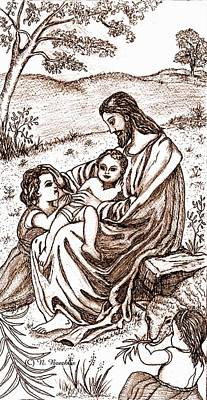 Sepia Ink Drawing - Jesus And The Children by Norma Boeckler