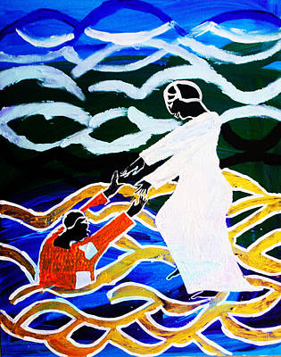 Painting - Jesus Walking On Water by Gloria Ssali