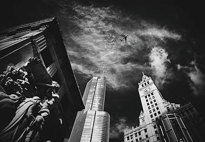 Photograph - Jet Over Michigan Avenue by Pixabay