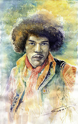Jazz Legends Wall Art - Painting - Jimi Hendrix 06 by Yuriy Shevchuk