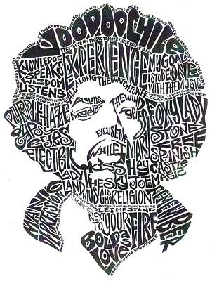 Song Drawing - Jimi Hendrix Black And White Word Portrait by Kato Smock