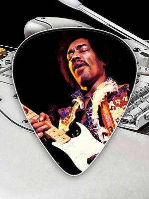 Pop Art Mixed Media - Jimi Hendrix Guitar Pick Collection by Marvin Blaine