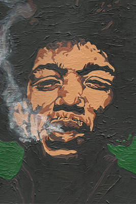 Painting - Jimi Hendrix by Rachel Natalie Rawlins
