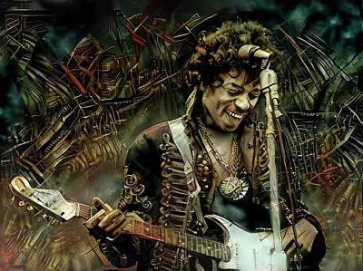 Mixed Media - Jimi Hendrix Steampunk Style by Lilia D