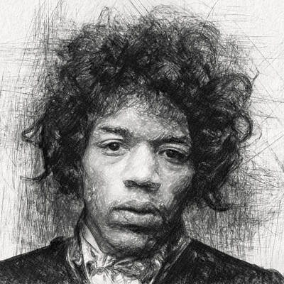 Guitar Drawing - Jimi Hendrix by Taylan Apukovska