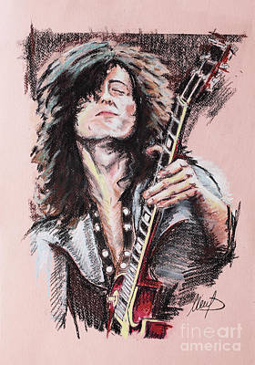 Led Zeppelin Wall Art - Painting - Jimmy Page by Melanie D