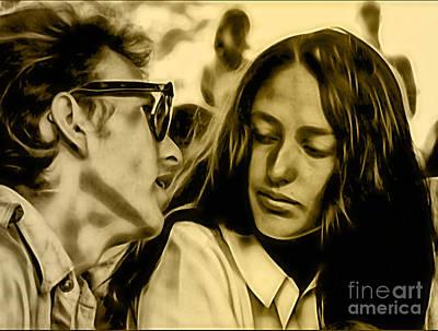 Joan Baez Mixed Media - Joan Baez With Bob Dylan by Marvin Blaine