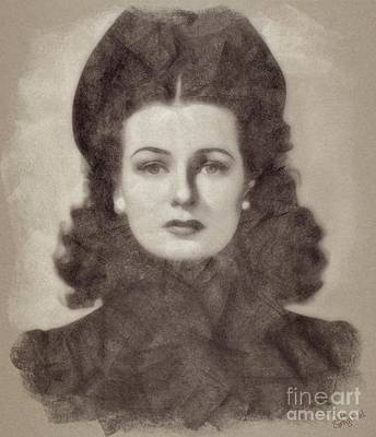 Musicians Drawings Rights Managed Images - Joan Bennett Vintage Hollywood Actress Royalty-Free Image by Esoterica Art Agency