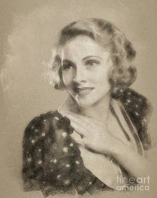 Musicians Drawings Rights Managed Images - Joan Fontaine, Vintage Actress by John Springfield Royalty-Free Image by John Springfield