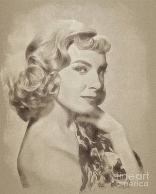 Musicians Drawings Rights Managed Images - Joanne Woodward, Vintage Actress by John Springfield Royalty-Free Image by Esoterica Art Agency