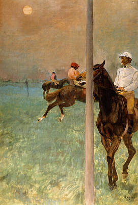 Horse Painting - Jockeys Before The Start by Edgar Degas