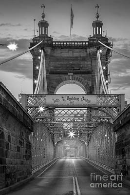 Ohio Photograph - John A. Roebling Suspension Bridge by Inge Johnsson