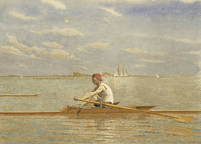 Single Drawing - John Biglin In A Single Scull by Thomas Eakins