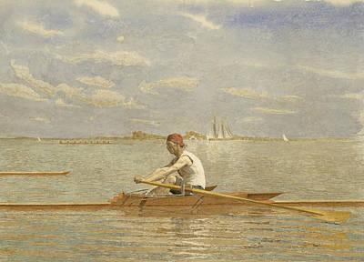Drawing - John Biglin In A Single Scull by Thomas Eakins