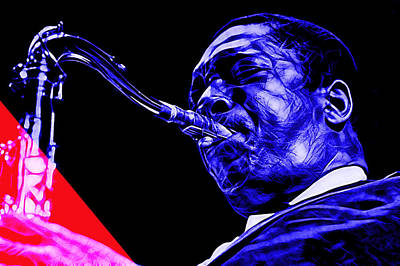 John Coltrane Collection Art Print by Marvin Blaine