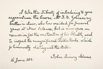Autographed Drawing - John Quincy Adams, 1767 - 1848. Eldest by Vintage Design Pics