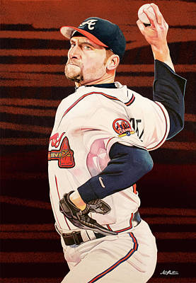 John Smoltz - Atlanta Braves Print by Michael Pattison