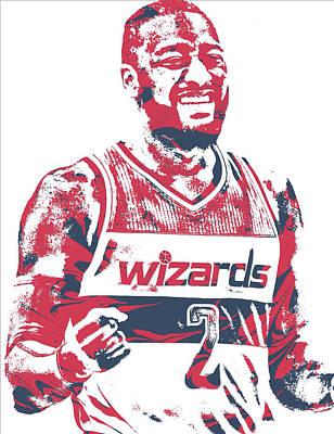 Washington Wizards Wall Art - Mixed Media - John Wall Washington Wizards Pixel Art 36 by Joe Hamilton