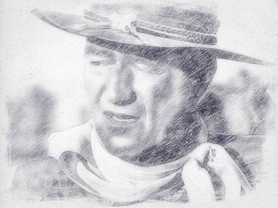 Musicians Drawings Royalty Free Images - John Wayne by John Springfield Royalty-Free Image by John Springfield