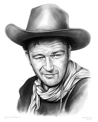 Drawing - John Wayne by Greg Joens