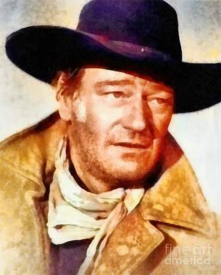 Rock And Roll Paintings - John Wayne, Vintage Hollywood Legend by Frank Falcon