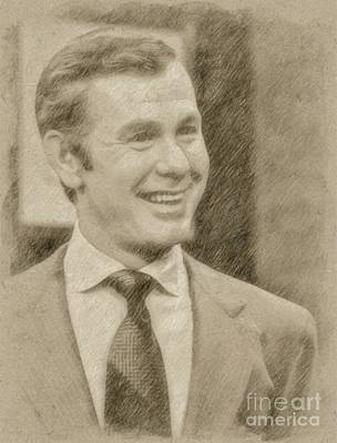Pinup Drawing - Johnny Carson, Entertainer by Frank Falcon