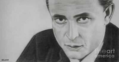 Johnny Cash Drawing - Johnny Cash by Dan Lockaby