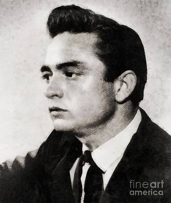 Music Paintings - Johnny Cash, Singer by Esoterica Art Agency