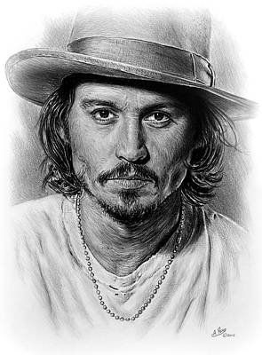 Musicians Drawings - Johnny Depp by Andrew Read