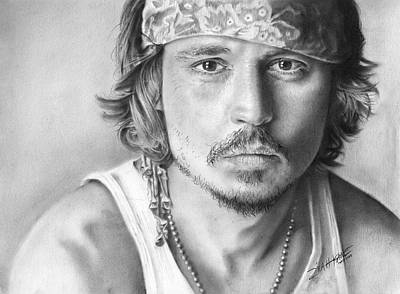 Hunk Drawing - Johnny Depp by Zilah Kane