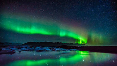 Photograph - Jokulsarlon Aurora by James Billings