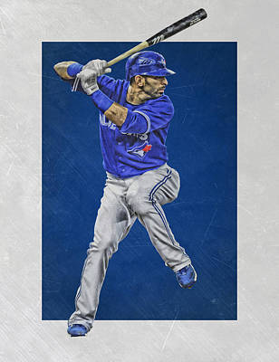 Gloves Mixed Media - Jose Bautista Toronto Blue Jays Art by Joe Hamilton