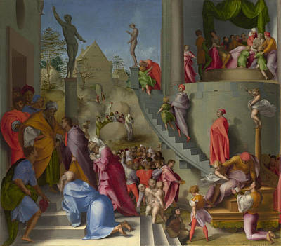 Testament Painting - Joseph With Jacob In Egypt by Jacopo Pontormo