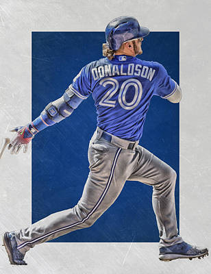 Gloves Mixed Media - Josh Donaldson Toronto Blue Jays Art by Joe Hamilton