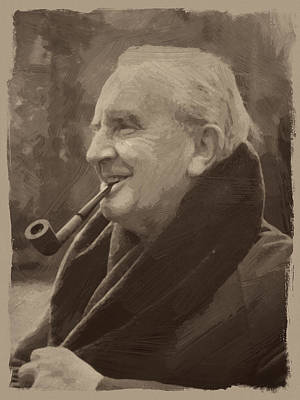 Tolkien Painting - J.r.r. Tolkien by Afterdarkness
