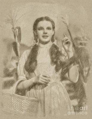 Fantasy Drawings Royalty Free Images - Judy Garland Vintage Hollywood Actress as Dorothy in The Wizard of Oz Royalty-Free Image by Frank Falcon
