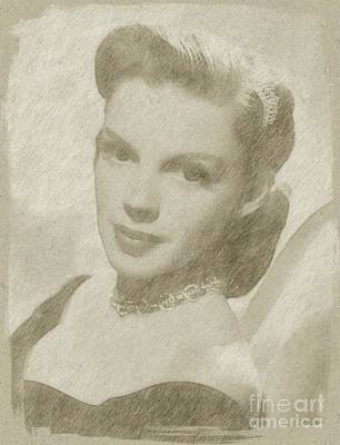 John Wayne Drawing - Judy Garland Vintage Hollywood Actress  by Frank Falcon
