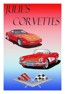 Painting - Julies Corvettes by Jack Pumphrey