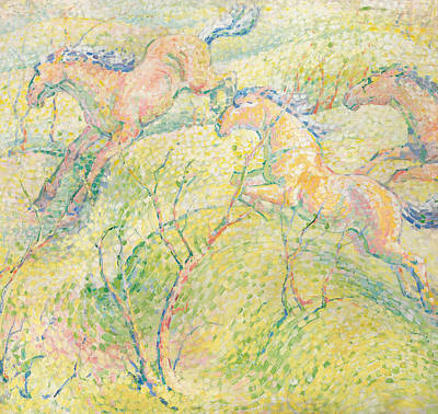Horse Racing Painting - Jumping Horses by Franz Marc