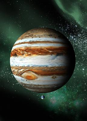 Scale Digital Art - Jupiter And Earth, Artwork by Victor Habbick Visions