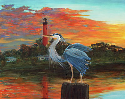 Painting - Jupiter Lighthouse Sunrise Great Blue Heron by Ken Figurski